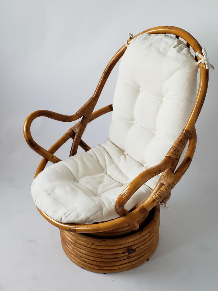 1980s Pair of Rattan Rocking and Swivel Lounge Chair , USA For Sale 4