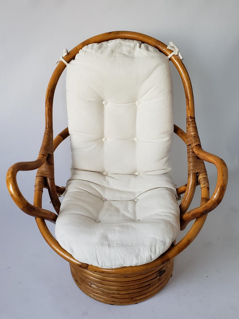 1980s Pair of Rattan Rocking and Swivel Lounge Chair , USA For Sale 5