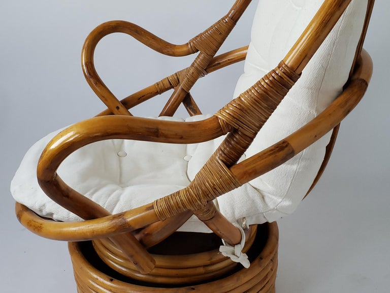 1980s Pair of Rattan Rocking and Swivel Lounge Chair , USA For Sale 9