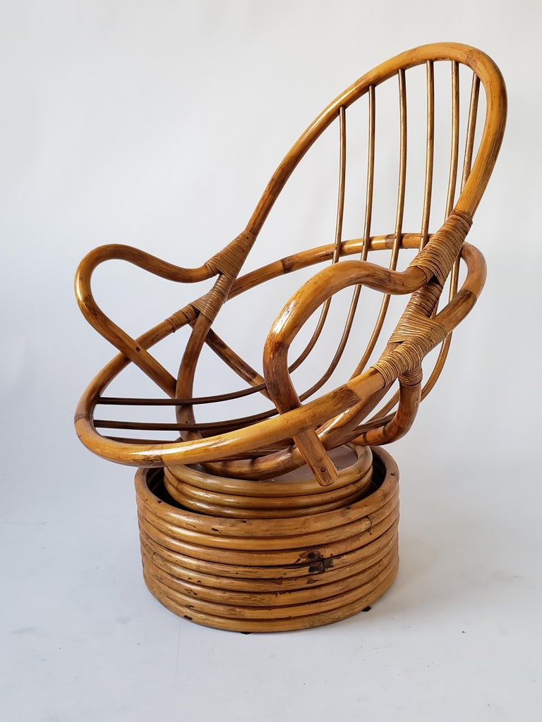 1980s Pair of Rattan Rocking and Swivel Lounge Chair , USA For Sale 12