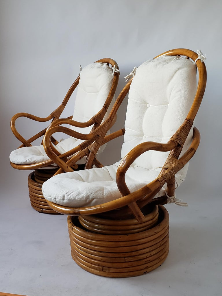1980s Pair of Rattan Rocking and Swivel Lounge Chair , USA For Sale 1