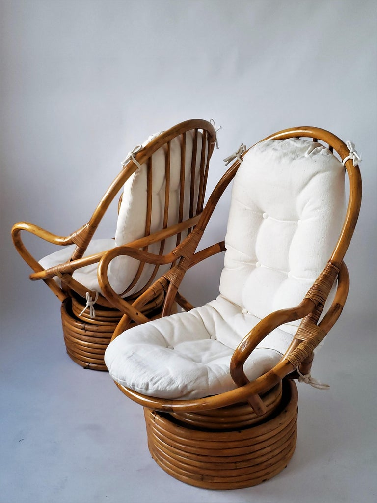 1980s Pair of Rattan Rocking and Swivel Lounge Chair , USA For Sale 2