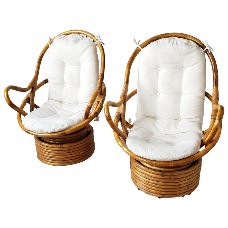 1980s Pair of Rattan Rocking and Swivel Lounge Chair , USA For Sale