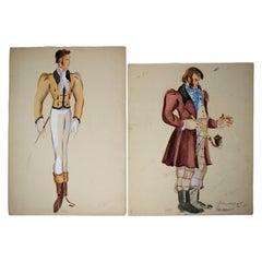 1980s Pair of Russian Gentlemen Watercolours Drawings