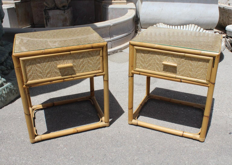 1980s Pair of Spanish Bamboo and Rattan Bedside Tables For ...