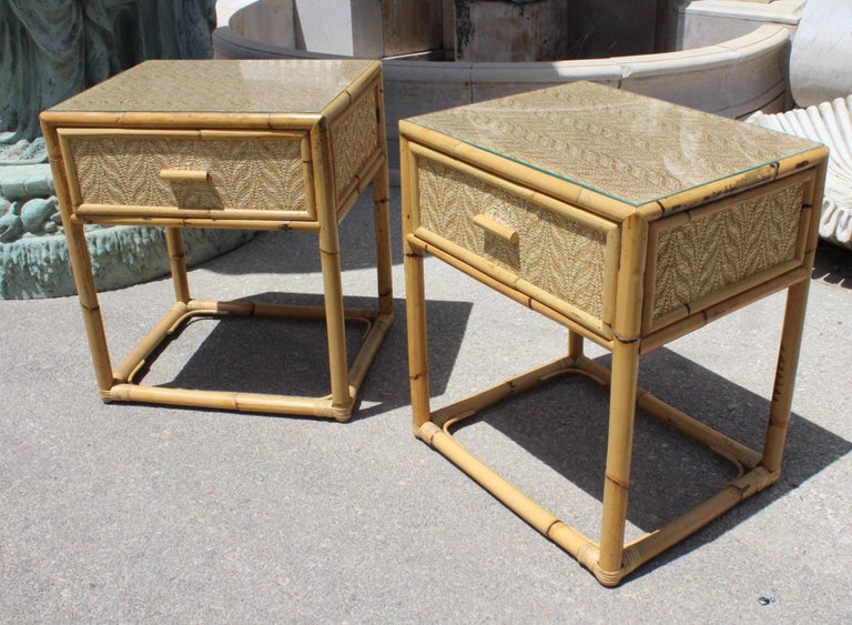 1980s Pair Of Spanish Bamboo And Rattan Bedside Tables For