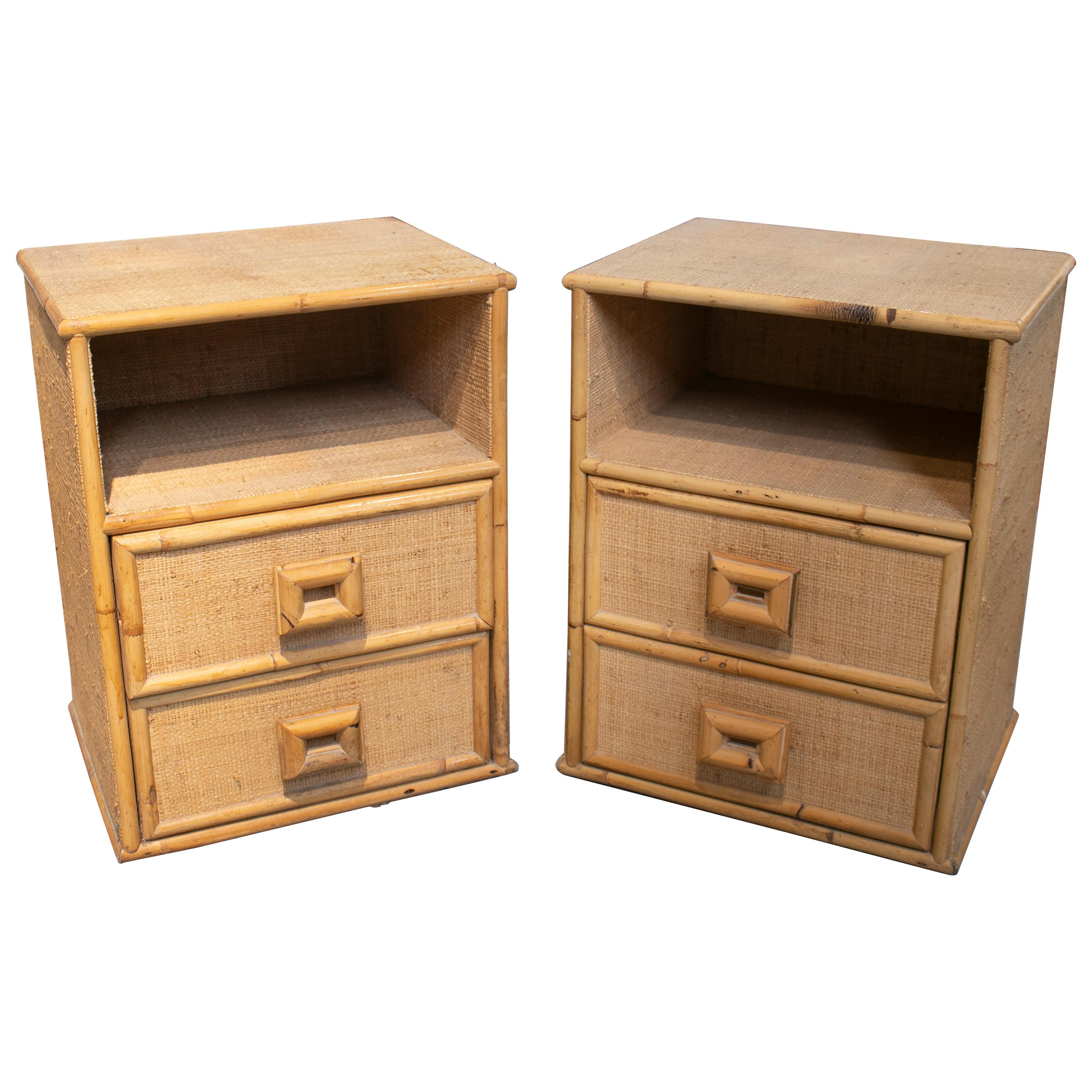 1980s Pair of Spanish Bamboo and Wicker Bedside Tables