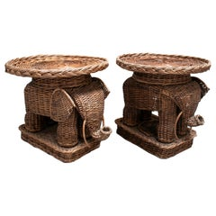 1980s Pair of Spanish Hand Woven Wicker Elephant Round Low Pedestal Tables