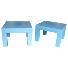 1980s Pair of Spanish Lacquered Wooden Side Tables