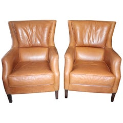 1980s Pair of Spanish Leather Armchairs