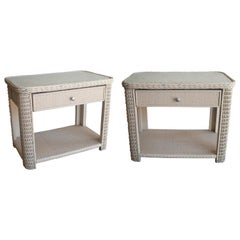 1980s Pair of Spanish One Drawer White Painted Wicker Bedside Tables