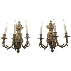 1980s Pair of Waldorf Astoria Heavy Bronze Sconces from the Conrad Suite Foyer