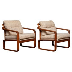 1980's Pair Teak with Wool Cushions Lounge / Easy Chair by HS Design, Denmark
