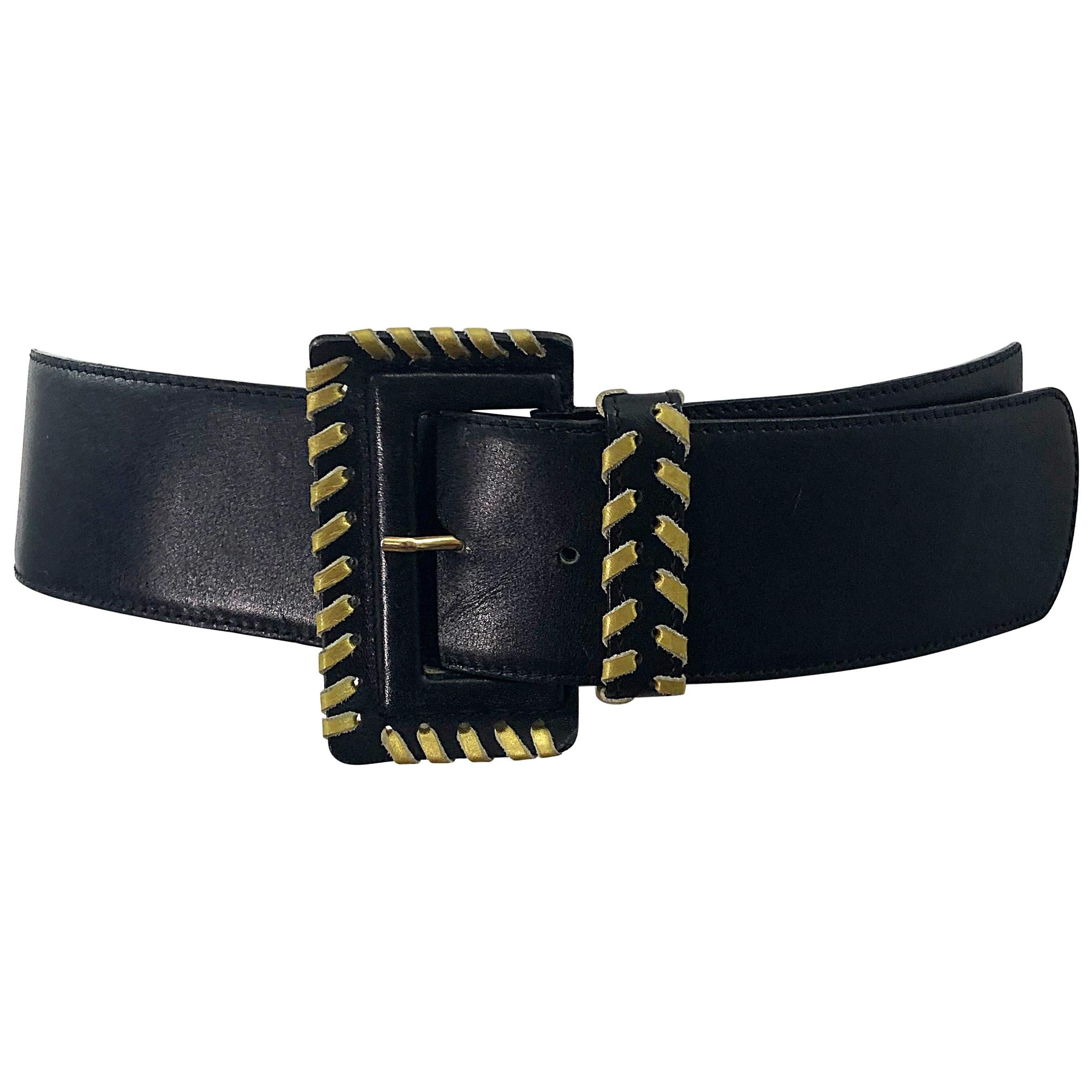 1980s PALOMA PICASSO Gold Tone Signature Brown Lizard Skin Belt