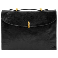 1980s Paloma Picasso Black Patterned Leather and Gold Hardware Briefcase