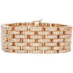 1980s Diamond Link 18 Karat Gold Bracelet