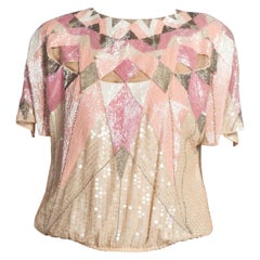 1980'S Pastel Pink Fully Beaded Silk Top