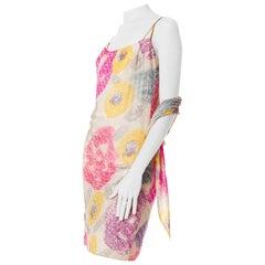 1980S  Pastel Silk Tie-Dye Cocktail Dress With Pinstripe Beading & Matching Sha