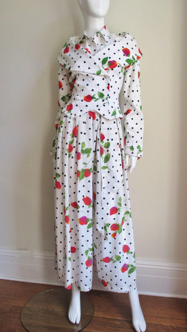 1980s Patrick Kelly Ad Campaign Halter, Palazzo Pants & Jacket For Sale 2