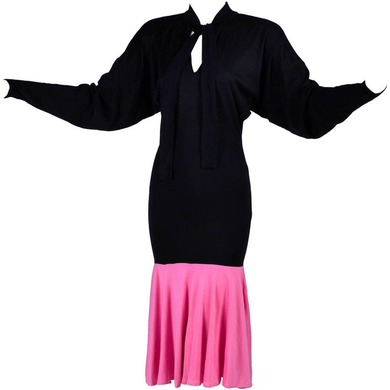 1980s Patrick Kelly Dress in Pink & Black Color Block Jersey Flounce Ruffle