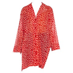 1980S PATRICK KELLY Red Leopard Print Cotton Oversized Blouse