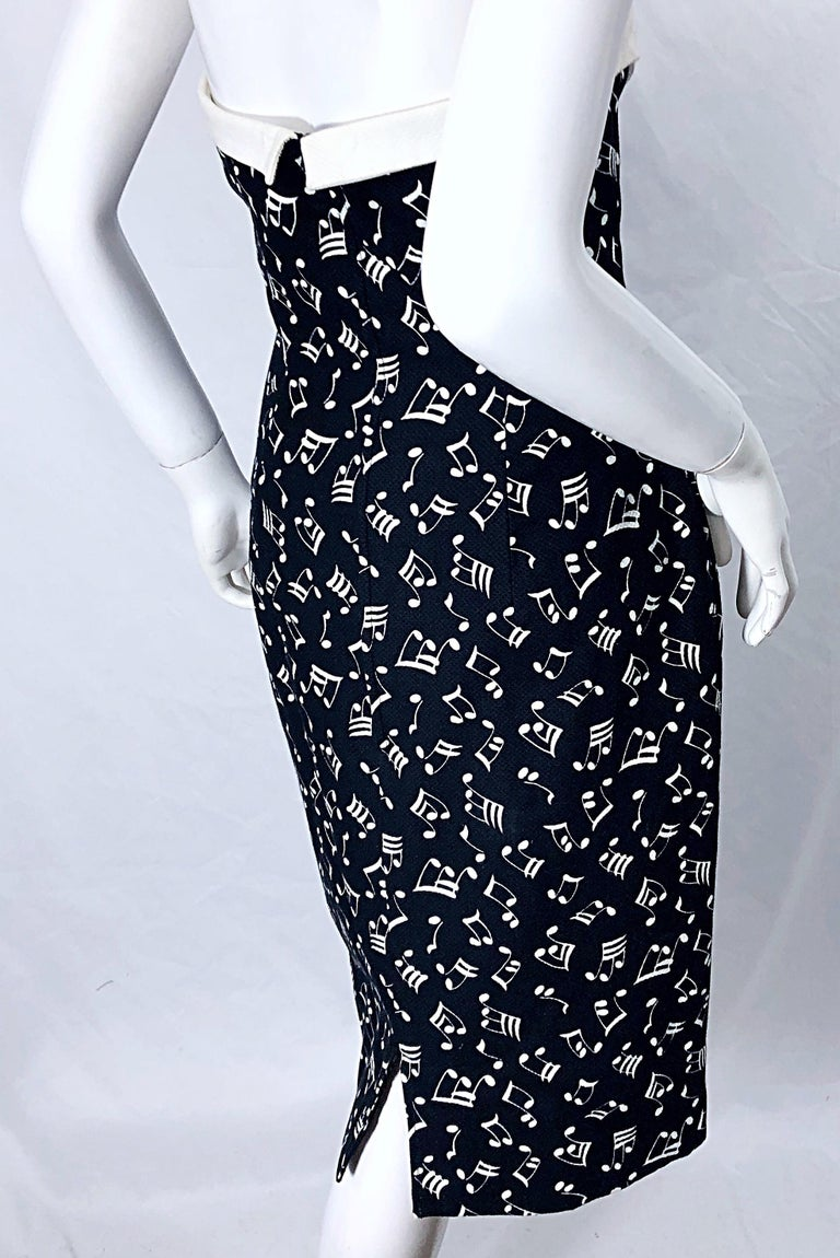 1980s Patrick Kelly Size 10 Novelty Music Print Black and White Strapless Dress For Sale 6