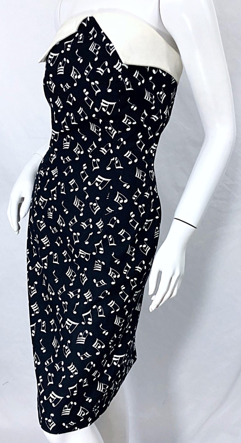 1980s Patrick Kelly Size 10 Novelty Music Print Black and White Strapless Dress For Sale 7