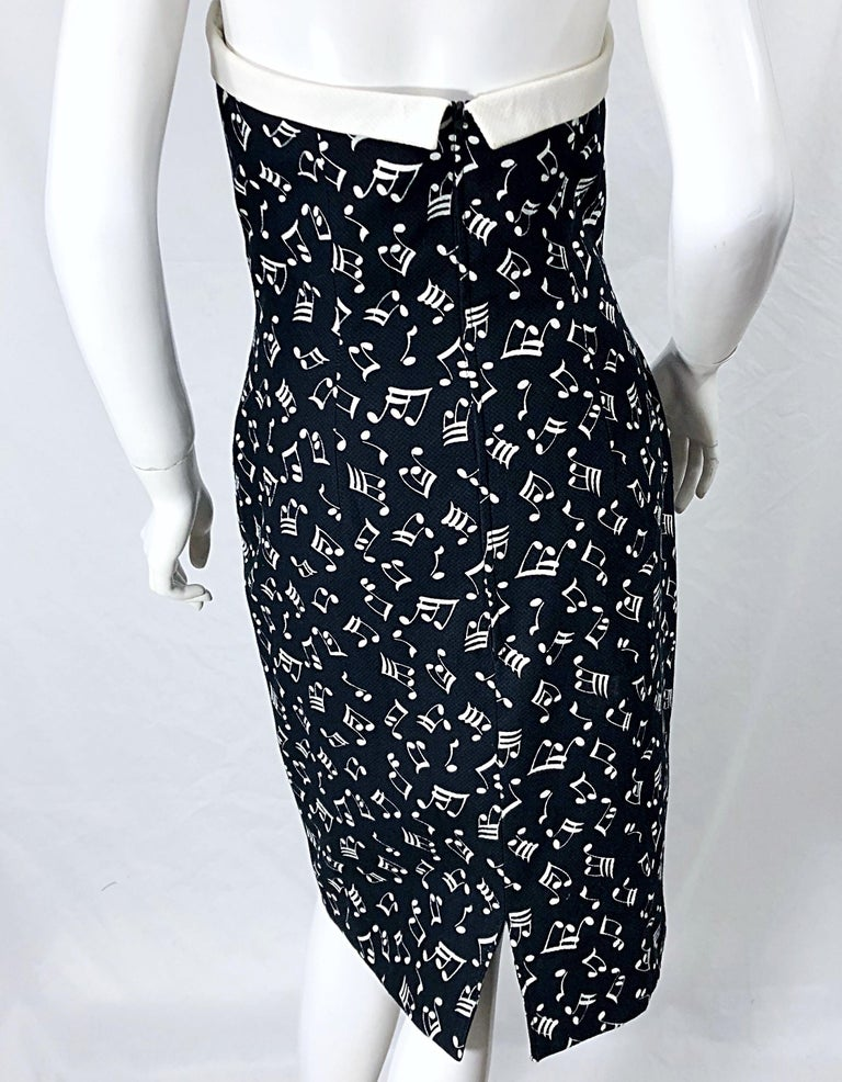 1980s Patrick Kelly Size 10 Novelty Music Print Black and White Strapless Dress For Sale 8