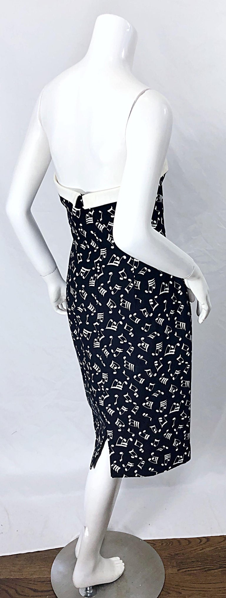 Women's 1980s Patrick Kelly Size 10 Novelty Music Print Black and White Strapless Dress For Sale