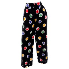 1980s Patrick Kelly Vintage Pants Abstract Circle Button Print Black Trousers