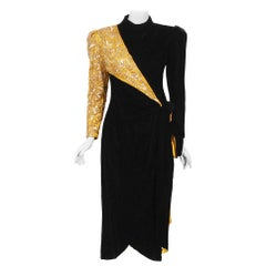 1980s Paul-Louis Orrier Paris Metallic Gold Embroidery Beaded Black Velvet Dress