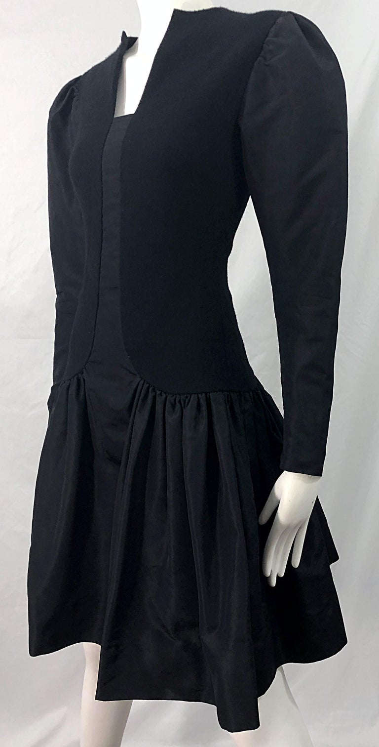 1980s Pauline Trigere Black Wool Silk Taffeta Avant Garde Vintage 80s Dress For Sale 6