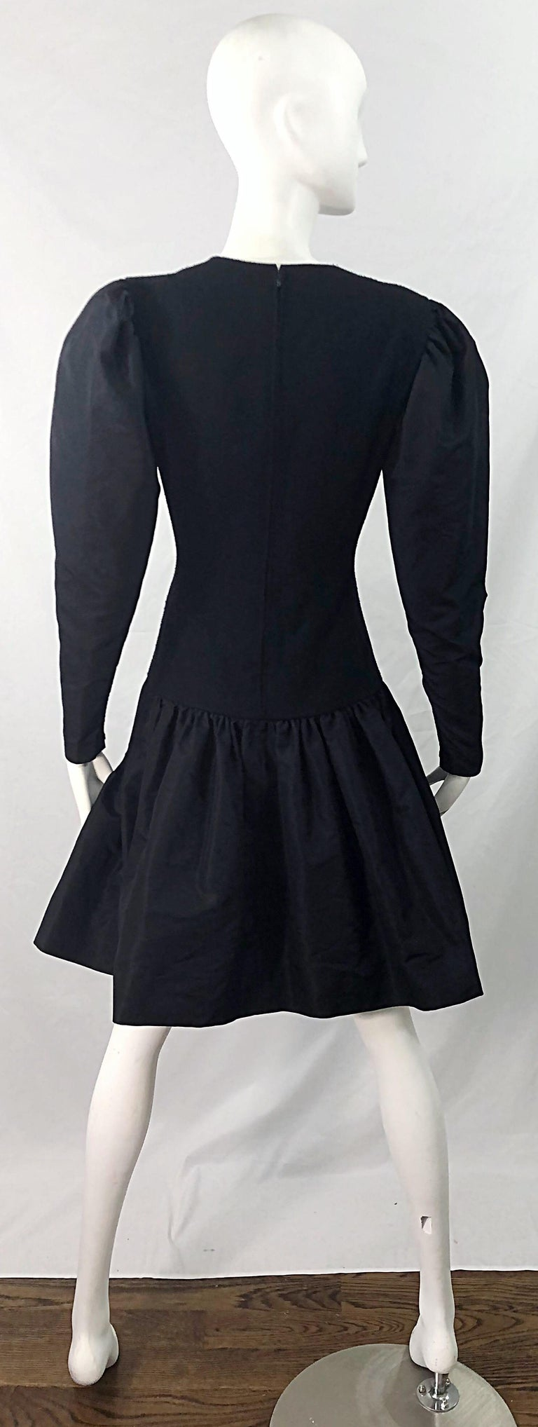 1980s Pauline Trigere Black Wool Silk Taffeta Avant Garde Vintage 80s Dress For Sale 7