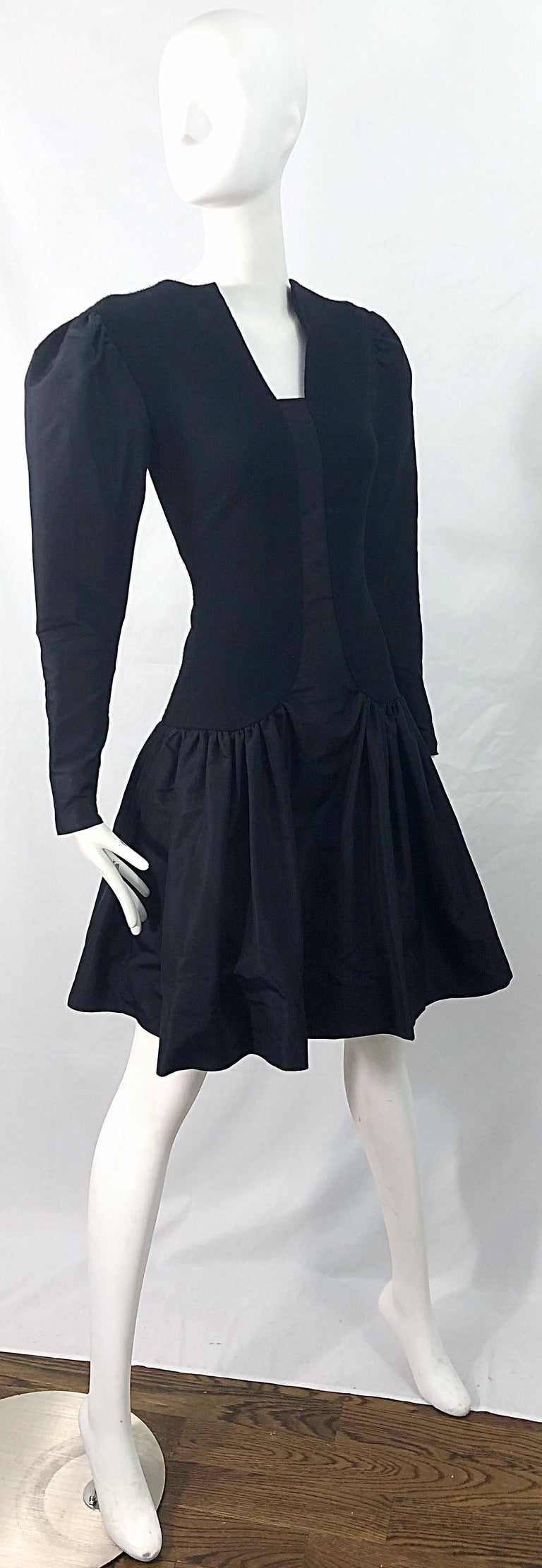 1980s Pauline Trigere Black Wool Silk Taffeta Avant Garde Vintage 80s Dress For Sale 8