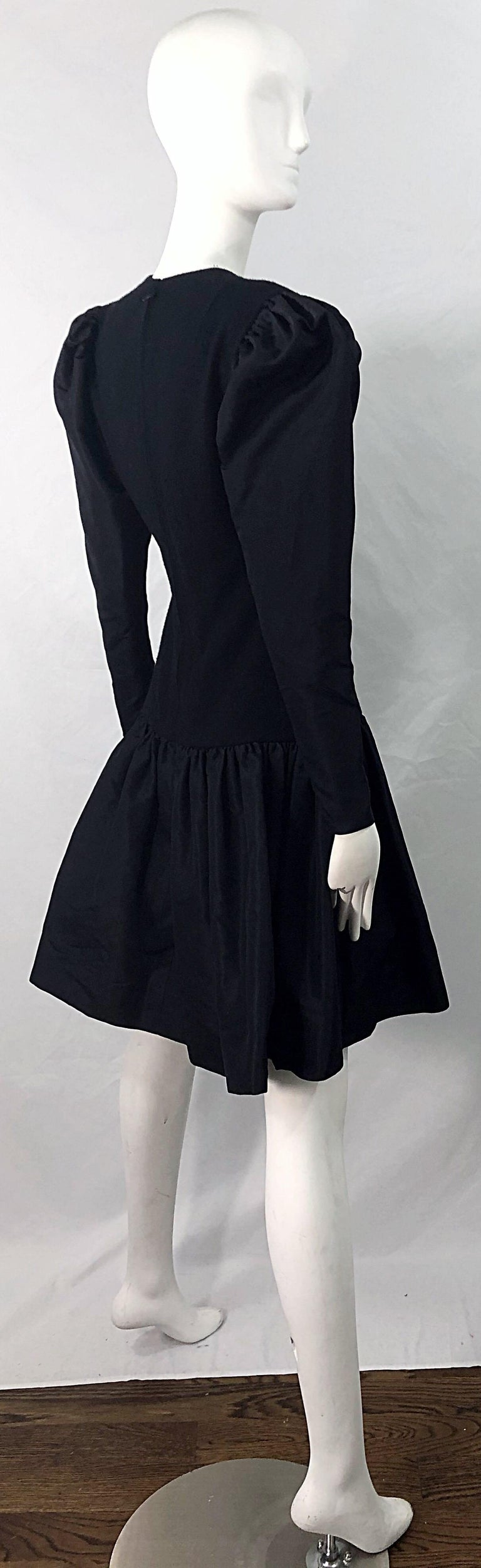 Women's 1980s Pauline Trigere Black Wool Silk Taffeta Avant Garde Vintage 80s Dress For Sale