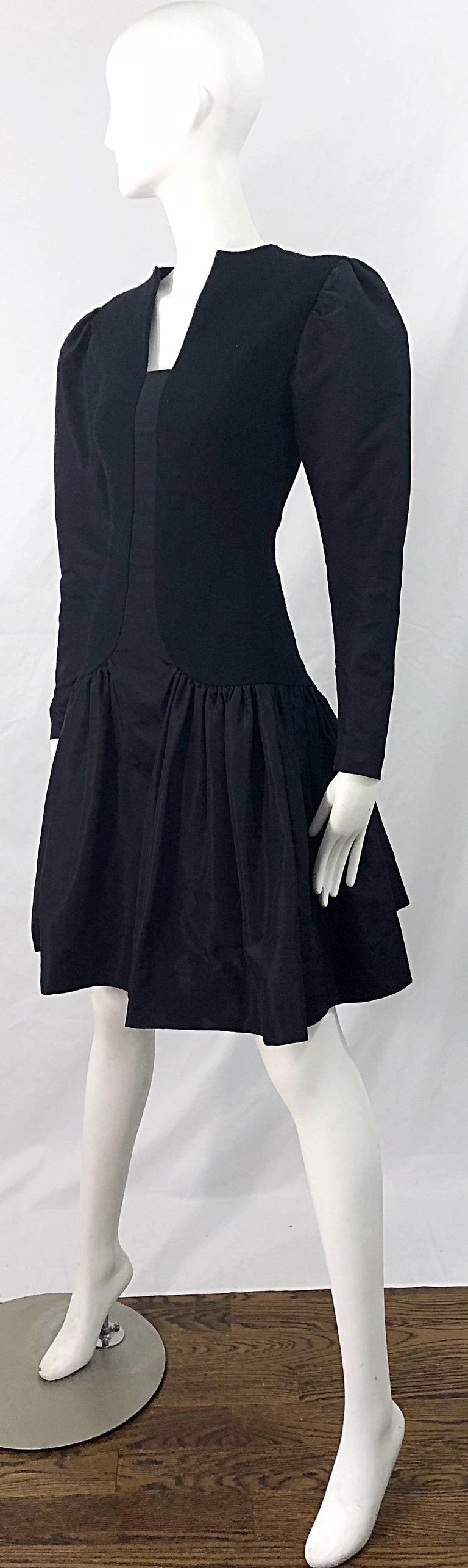 1980s Pauline Trigere Black Wool Silk Taffeta Avant Garde Vintage 80s Dress For Sale 1