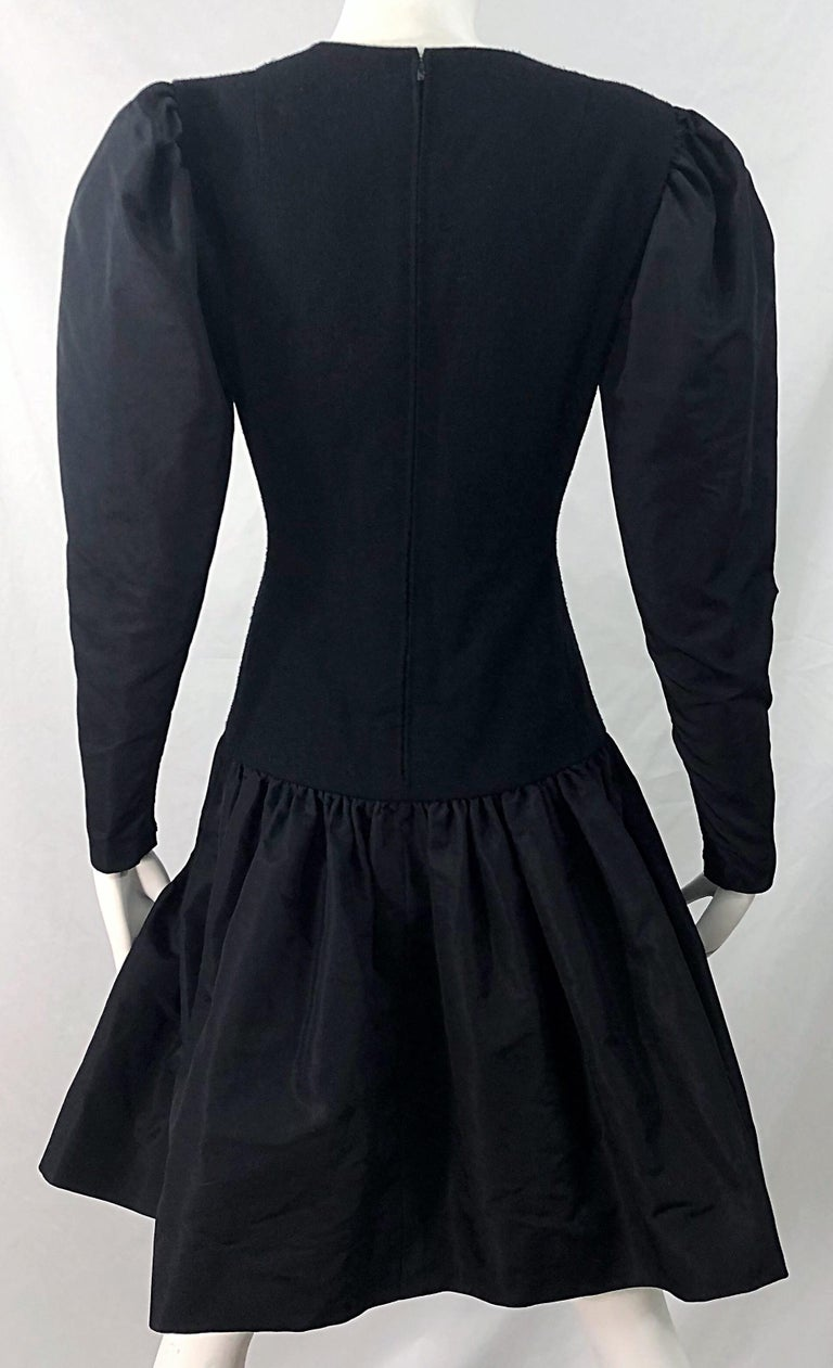 1980s Pauline Trigere Black Wool Silk Taffeta Avant Garde Vintage 80s Dress For Sale 2