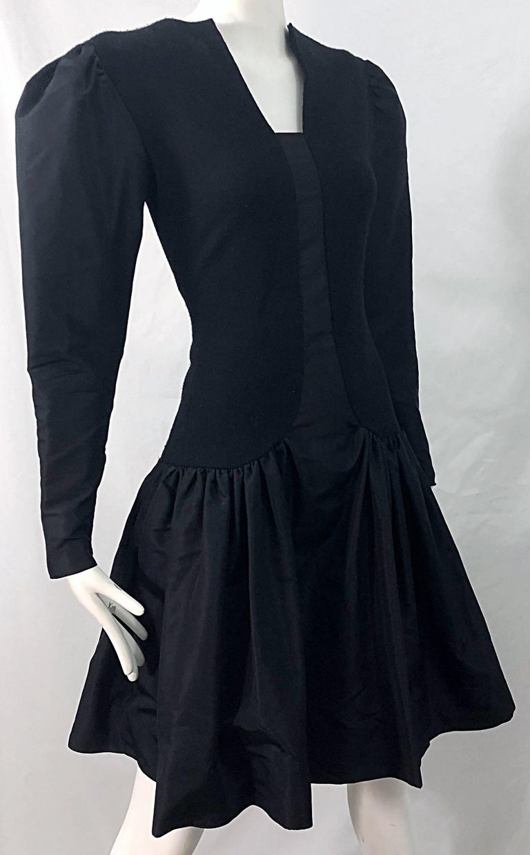 1980s Pauline Trigere Black Wool Silk Taffeta Avant Garde Vintage 80s Dress For Sale 4