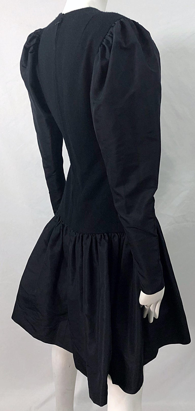 1980s Pauline Trigere Black Wool Silk Taffeta Avant Garde Vintage 80s Dress For Sale 5