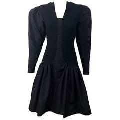 1980s Pauline Trigere Black Wool Silk Taffeta Avant Garde Vintage 80s Dress