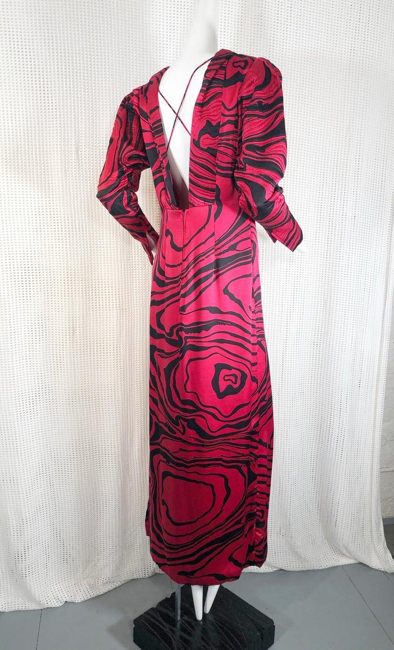 Black 1980s Pauline Trigere Marbleized Silk Print Gown For Sale