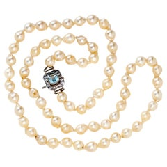 1980s Pearl and Aquamarine Necklace
