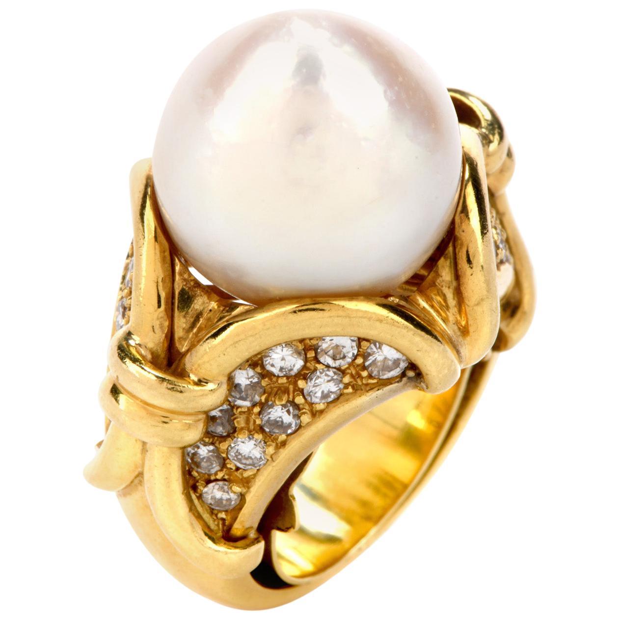 1980s Pearl Diamond 18 Karat Yellow Gold Cocktail Ring