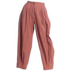 1980S Perry Ellis Triple Pleated Cotton Wide Leg Pants