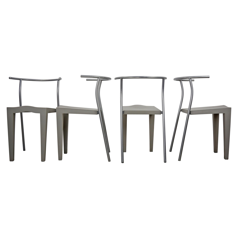 1980s Philippe Starck Design Set of 4 Chairs Dr Glob Model for Kartell