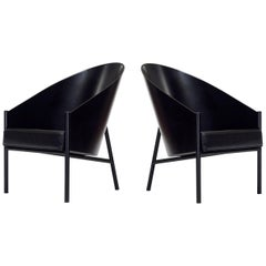 1980s Philippe Starck Pratfall Lounge Chairs in Black Leather, Pair