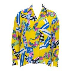 1980s Pierre Balmain Yellow Print Blouse