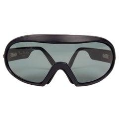 1980s Pierre Cardin Paris Model 50/7 Blue Mask-Style Sunglasses with Pouch