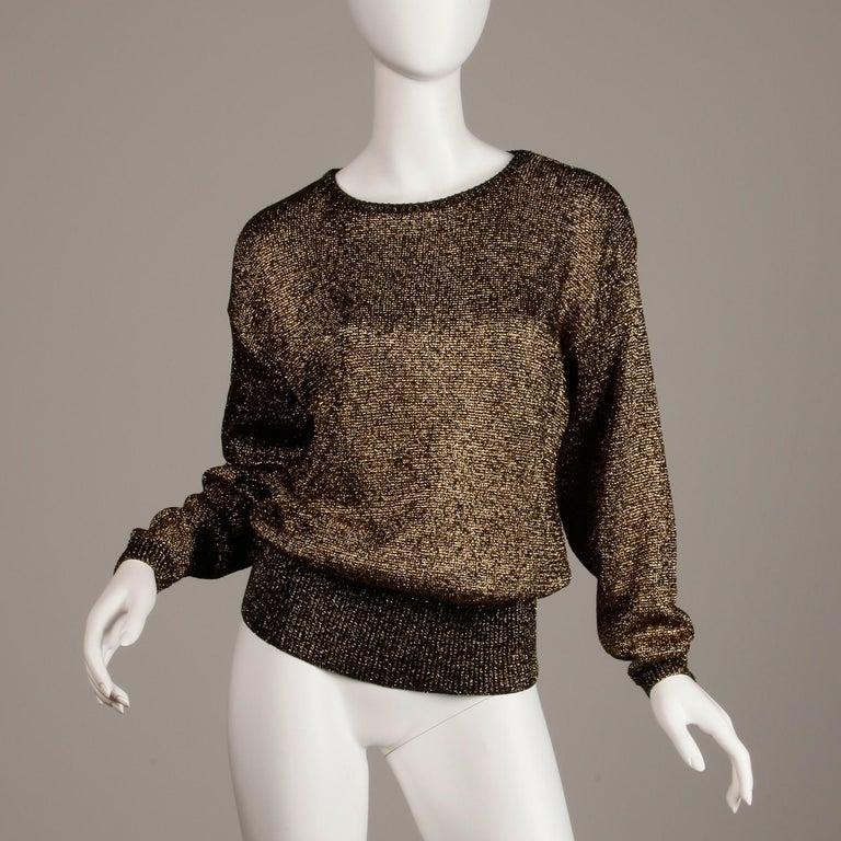 Black 1980s Pierre Cardin Vintage Metallic Gold Knit Sweater Top or Jumper For Sale