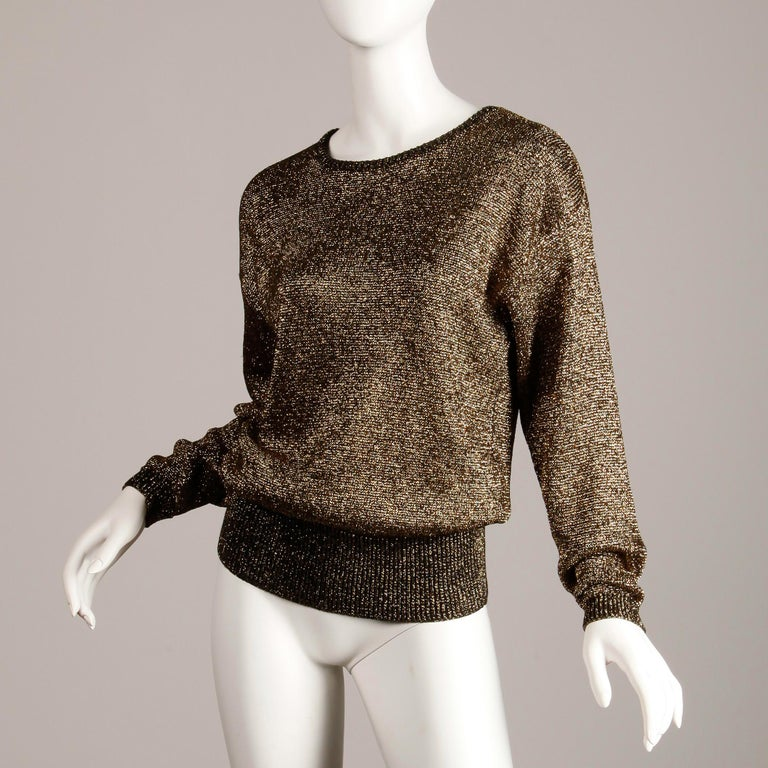 1980s Pierre Cardin Vintage Metallic Gold Knit Sweater Top or Jumper In Excellent Condition For Sale In Sparks, NV